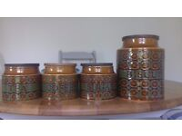 Hornsea tea, coffee, sugar and biscuit ceramic containers.