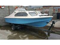 17ft Shetland 535 cabin boat on trailer with 40hp mariner