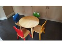 Childrens Table and Character Four Chairs