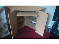 BEECH CORNER PC / COMPUTER CABINET / DESK - WITH SHELVES & PULL OUT KEYBOARD SHELF