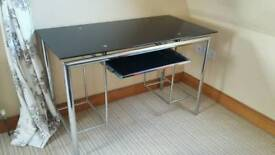Glass Black Top Computer Table
