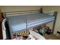 Bunk bed frame and mattress