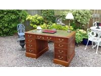Large Vintage Antique Style Yew / Walnut Leather Top Pedestal Writing Desk
