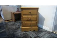 pine bedside cabinet with 3 draws vgc £30