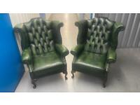 Stunning pair of leather chesterfield wing back chairs £700