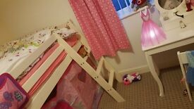 Cabin bed kids mid sleeper with tent, canopy and tower. Excellent condition.