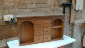Small antique pine wall unit with drawers