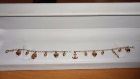 9ct rose gold charm bracelet/ankle bracelet 4 grams