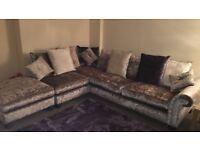 Velvet crush corner sofa plus foot rest