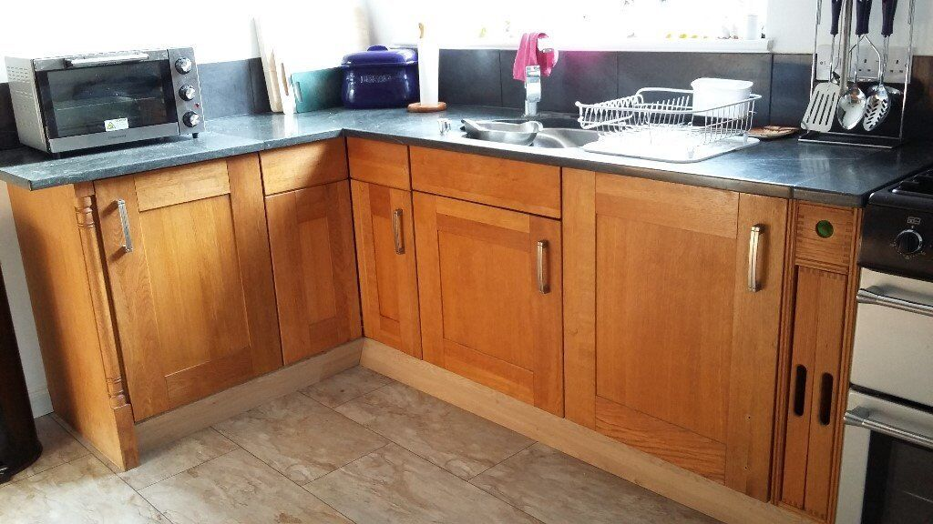 Oak kitchen cupboards, marble worktop & Franke stainless steel sink ...