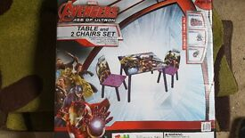 Avengers table with two chairs.Solid wood Brand new boxed