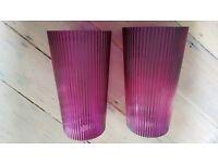 John Lewis purple glass lampshades X2