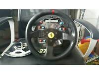 Thrustmaster T500RS Base with ferrari rim on and SRH pro dash
