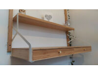 Bamboo wall desk with shelf (IKEA SVALNÄS model)