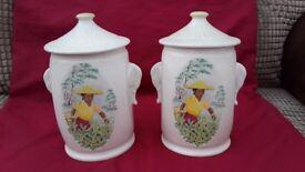Tea Picking scene pair of pottery storage jars