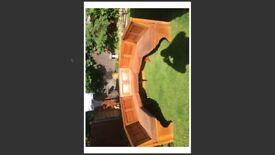 oak built panel interior bench seating