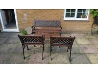 ANTIQUE RARE 4 PIECE CAST IRON GARDEN TABLE AND CHAIRS FURNITURE REFURBISHED