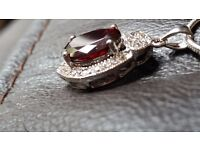 BRAND NEW 4 CARATS FIRE GARNET, WHITE TOPAZ, 925 SOLID STERLING SILVER PENDANT & NECKLACE