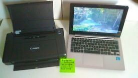 Road Warrior Bundle ASUS S200E notebook + Canon iP 110 Wireless portable printer