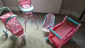Elc push chair, high chair, rocker and tea trolley