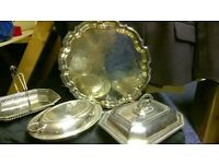 Old Victorian silver dishes