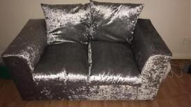 2 Seater & 3 Seater Silver Crushed Velvet Sofas