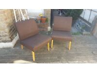 2 vintage cushioned chairs