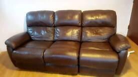 Chocolate brown 3 seater sofa recliner