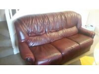 3 seater leather sofa plus 2 armchairs