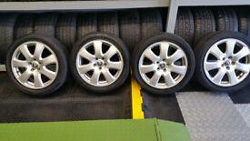 Jaguar Genuine 17 alloy wheels + 4 x tyres 225 45 17 -Jaguar,Ford,Volvo