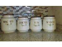 Vintage tea/coffee/sugar and biscuit containers. Kernewek Pottery Daisy Design, Cornwall