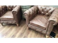 Two leather chesterfield armchairs 1 yr old