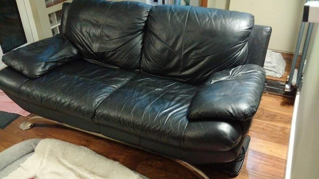 Black 2 Seater Leather Sofa With Chrome Leg Possibly Dfs In