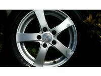 ALLOY WHEELS BY DEZENT WITH TYRES TO FIT MOST VW.