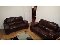 Dark brown leather 2x 2 seater couches and 1 chair set. Good cond, collection from crosby.