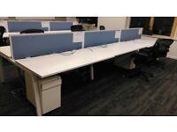 White executive 6 person bench desk system