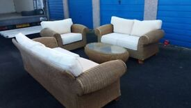 3,2,1 SEATER SOFA AND COFFEE TABLE. WICKER AND CREAM CUSHIONS