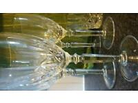 Vintage lead crystal glasses. 4 wine glasses, 4 whisky glasses and 4 water glasses.
