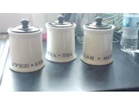 Tea coffee sugar canister jars