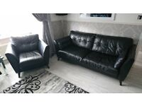 Black Leather French Connection Sofas & Chair