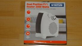NEW Status Dual Position Fan Heater 2000 Watts 2 Settings Adjustable Thermostat Portable Heat Warm