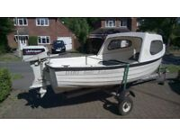 Dart Fisherman 4m Fishing Day boat with Cuddy, Outboard and Trailer