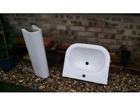 White bathroom sink with pedestal - mixer tap and waste included