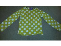 Long sleeve yellow and white spotty top