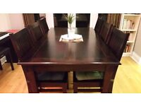 High quality extendable M&S hardwood dining table + 6 matching chairs