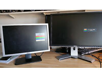 Pair of Dell PC LCD Monitors - 22inch and 19inch