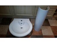 white bathroom wash basin and pedestal