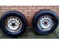 2 old sprinter van wheels