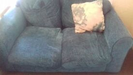 Two seater sofa green/blue