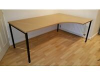 Large Solid Wood Professional Office Corner Desk / work bench £55 ONO
